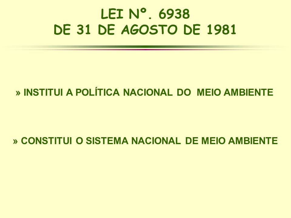 » INSTITUI A POLÍTICA NACIONAL DO MEIO AMBIENTE