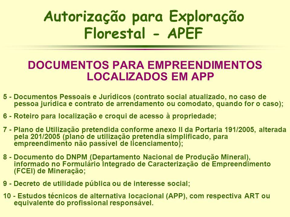Autorização para Exploração Florestal - APEF