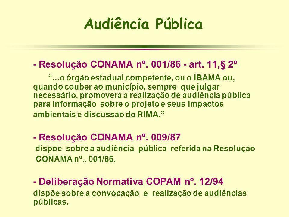 Audiência Pública - Resolução CONAMA nº. 001/86 - art. 11,§ 2º
