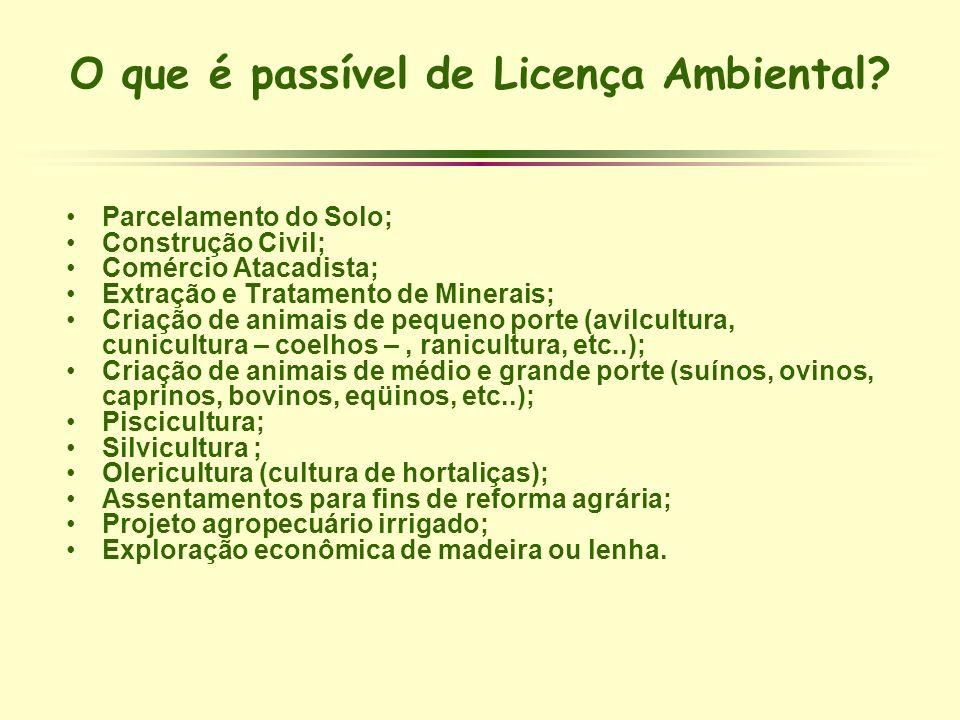 O que é passível de Licença Ambiental