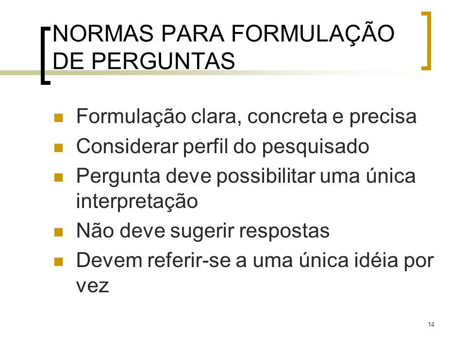 NORMAS PARA FORMULAÇÃO DE PERGUNTAS