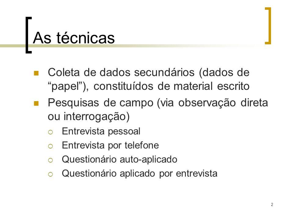 As técnicas Coleta de dados secundários (dados de papel ), constituídos de material escrito.