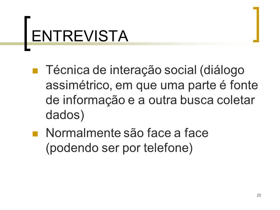 ENTREVISTA Técnica de interação social (diálogo assimétrico, em que uma parte é fonte de informação e a outra busca coletar dados)
