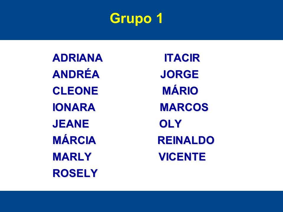 Grupo 1 ADRIANA ITACIR ANDRÉA JORGE CLEONE MÁRIO IONARA MARCOS
