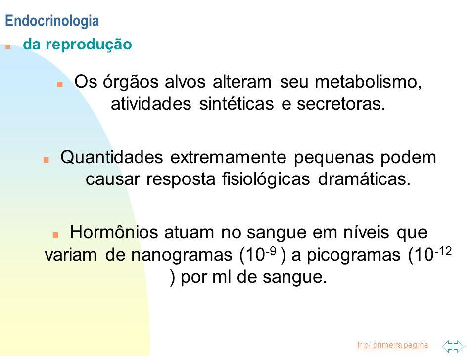 Endocrinologia da reprodução. Os órgãos alvos alteram seu metabolismo, atividades sintéticas e secretoras.