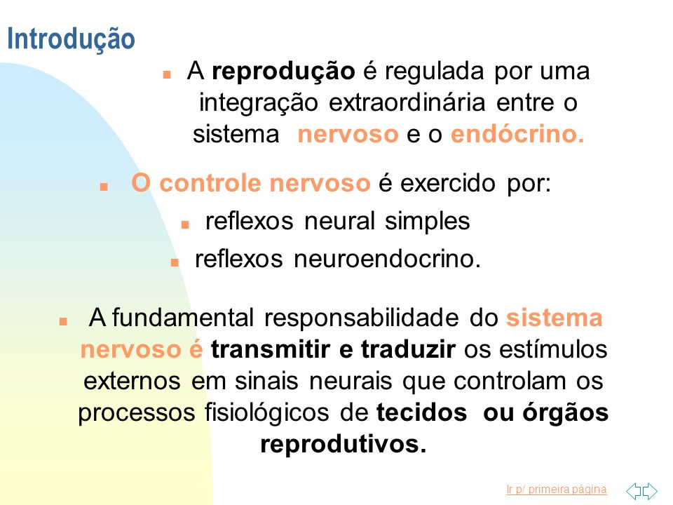 Introdução A reprodução é regulada por uma integração extraordinária entre o sistema nervoso e o endócrino.