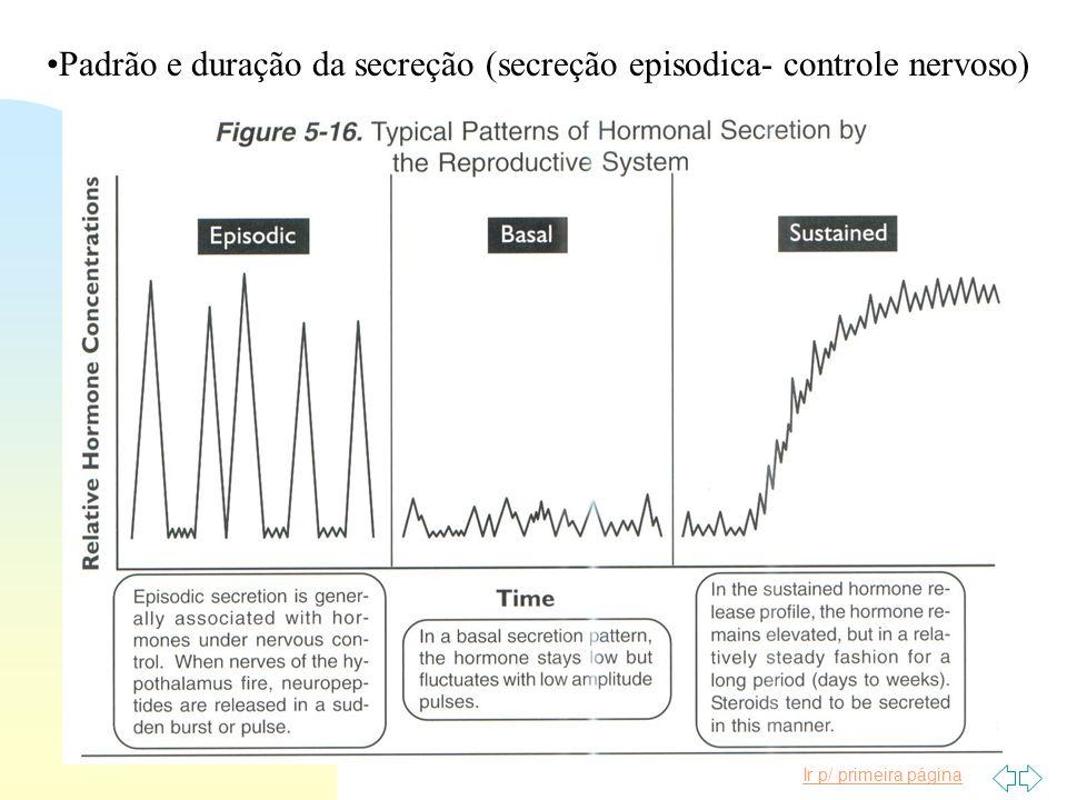 Padrão e duração da secreção (secreção episodica- controle nervoso)