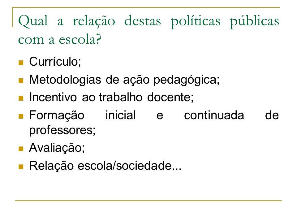 Qual a relação destas políticas públicas com a escola