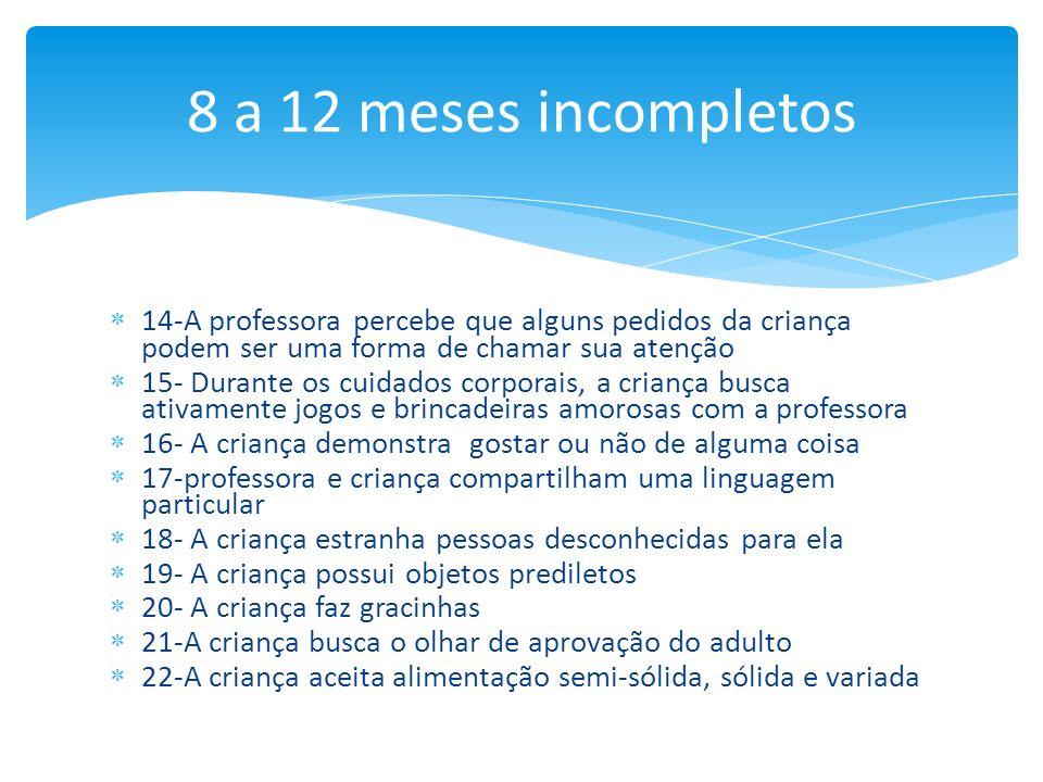 8 a 12 meses incompletos14-A professora percebe que alguns pedidos da criança podem ser uma forma de chamar sua atenção.