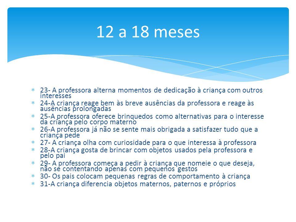 12 a 18 meses 23- A professora alterna momentos de dedicação à criança com outros interesses.