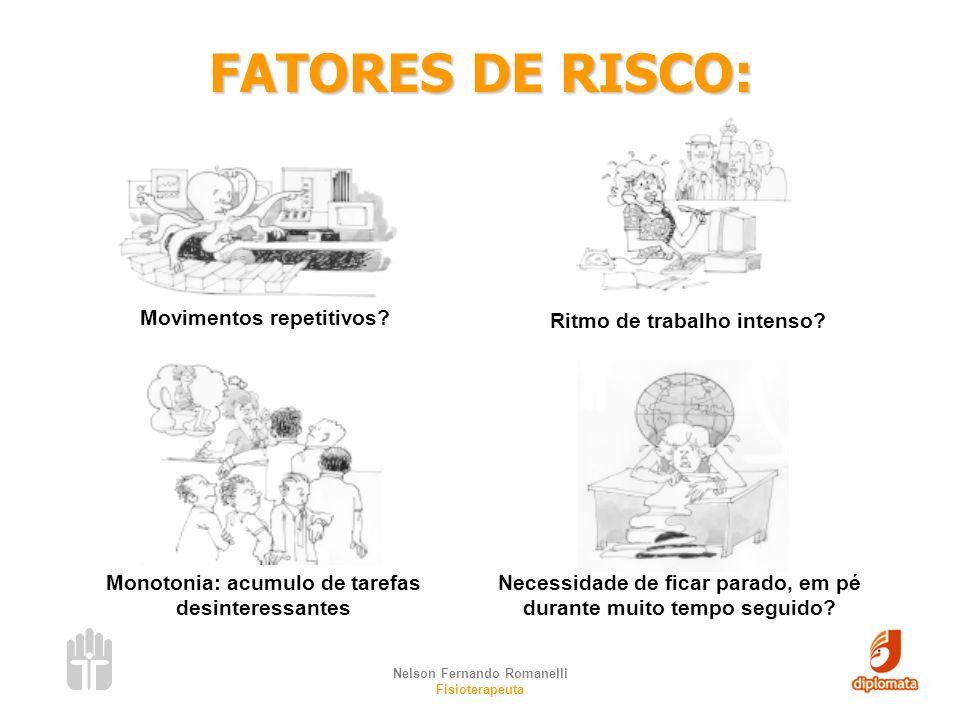 FATORES DE RISCO: Movimentos repetitivos Ritmo de trabalho intenso