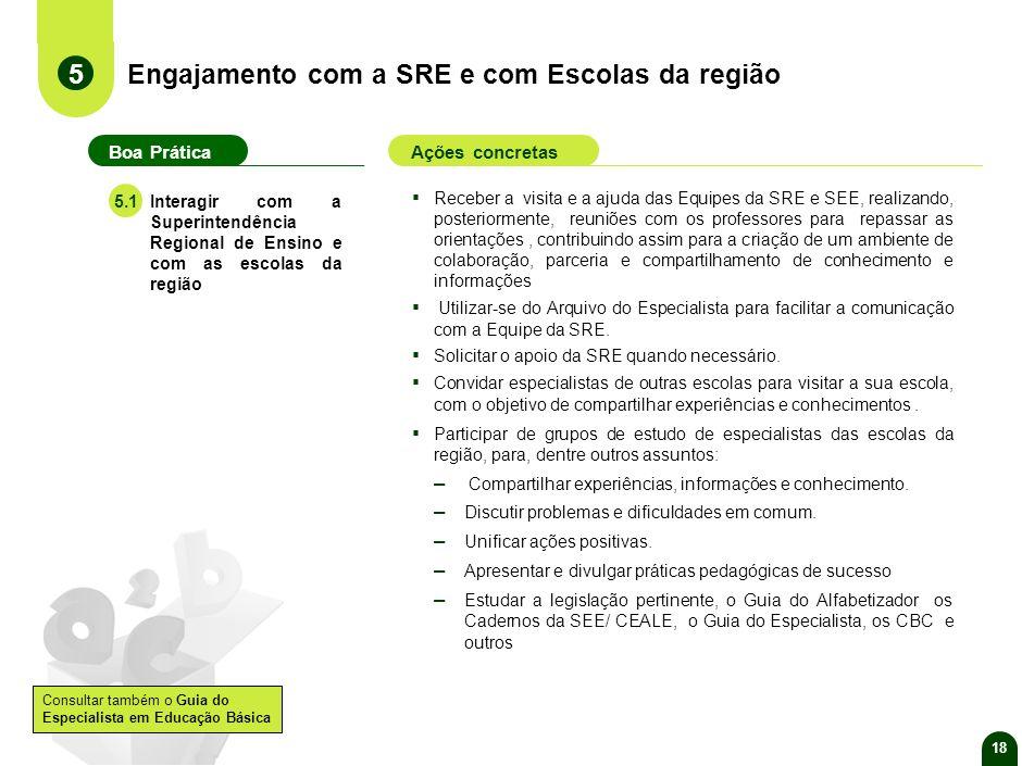 Engajamento com a SRE e com Escolas da região