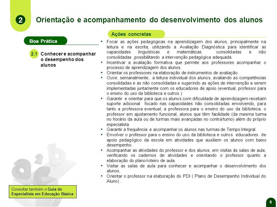 Orientação e acompanhamento do desenvolvimento dos alunos