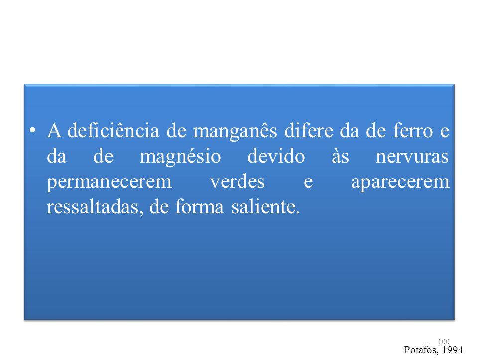 A deficiência de manganês difere da de ferro e da de magnésio devido às nervuras permanecerem verdes e aparecerem ressaltadas, de forma saliente.
