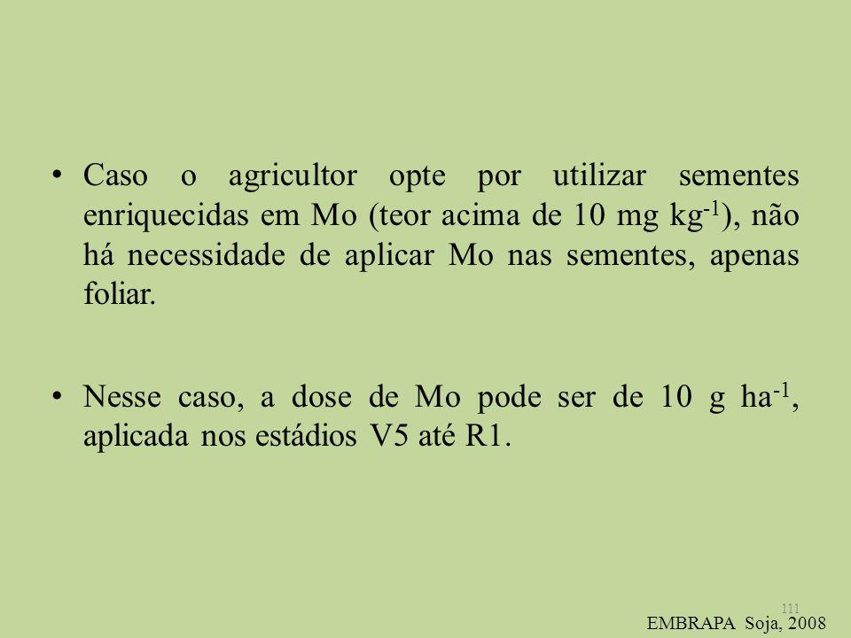 Caso o agricultor opte por utilizar sementes enriquecidas em Mo (teor acima de 10 mg kg-1), não há necessidade de aplicar Mo nas sementes, apenas foliar.
