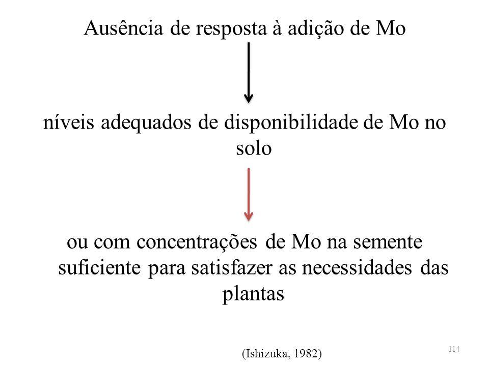 Ausência de resposta à adição de Mo níveis adequados de disponibilidade de Mo no solo ou com concentrações de Mo na semente suficiente para satisfazer as necessidades das plantas