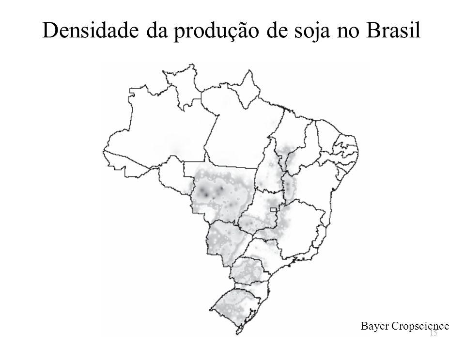 Densidade da produção de soja no Brasil