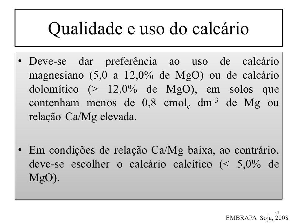 Qualidade e uso do calcário