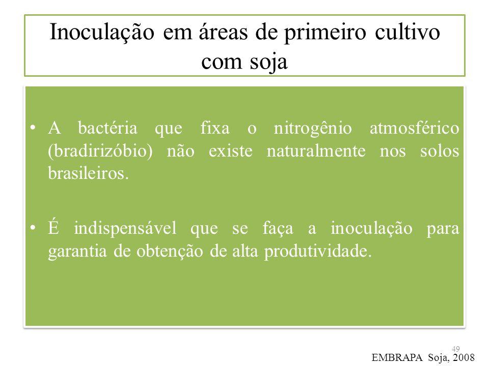 Inoculação em áreas de primeiro cultivo com soja