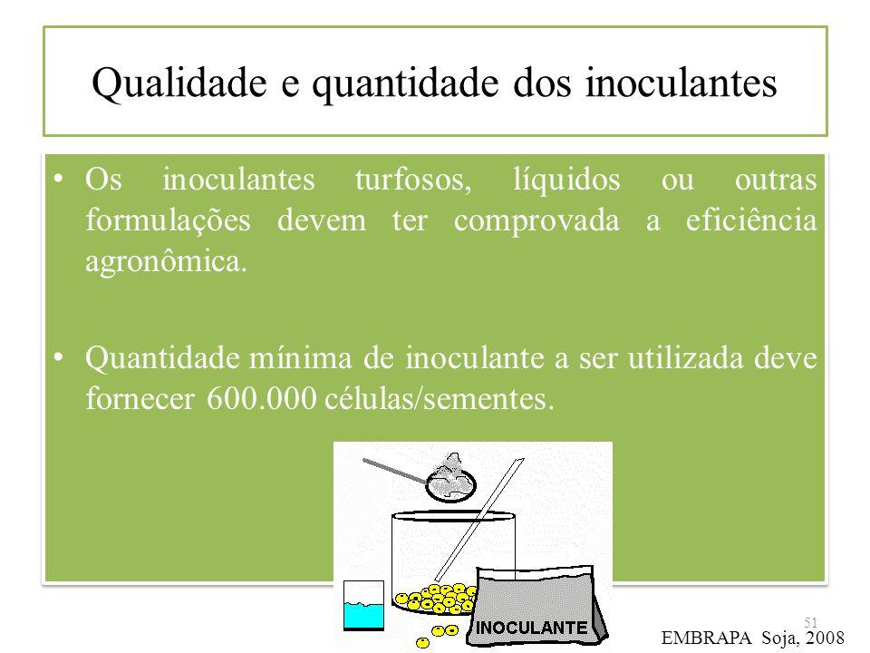 Qualidade e quantidade dos inoculantes