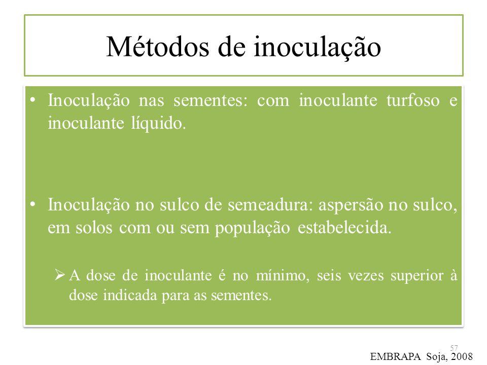 Métodos de inoculação Inoculação nas sementes: com inoculante turfoso e inoculante líquido.