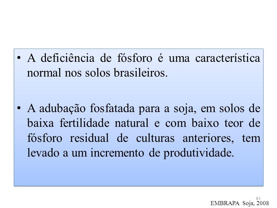 A deficiência de fósforo é uma característica normal nos solos brasileiros.