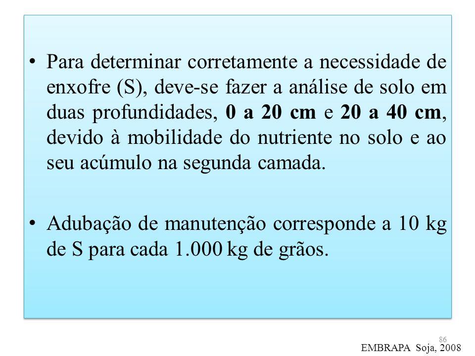 Para determinar corretamente a necessidade de enxofre (S), deve-se fazer a análise de solo em duas profundidades, 0 a 20 cm e 20 a 40 cm, devido à mobilidade do nutriente no solo e ao seu acúmulo na segunda camada.
