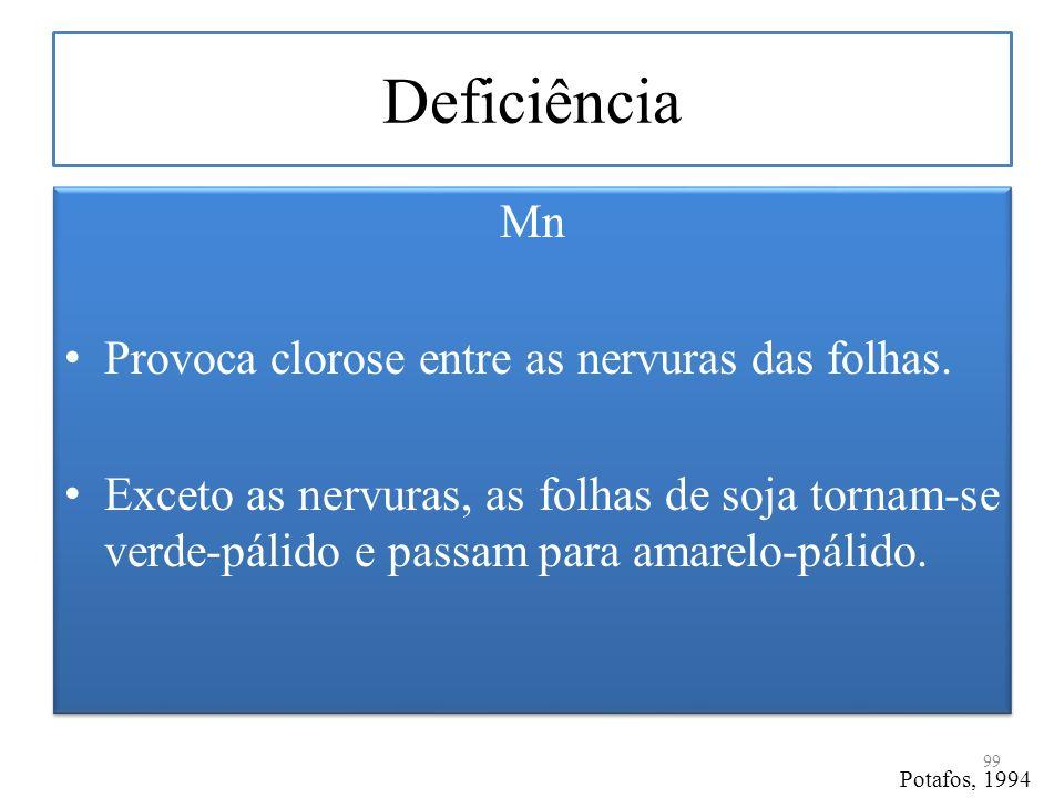 Deficiência Mn Provoca clorose entre as nervuras das folhas.
