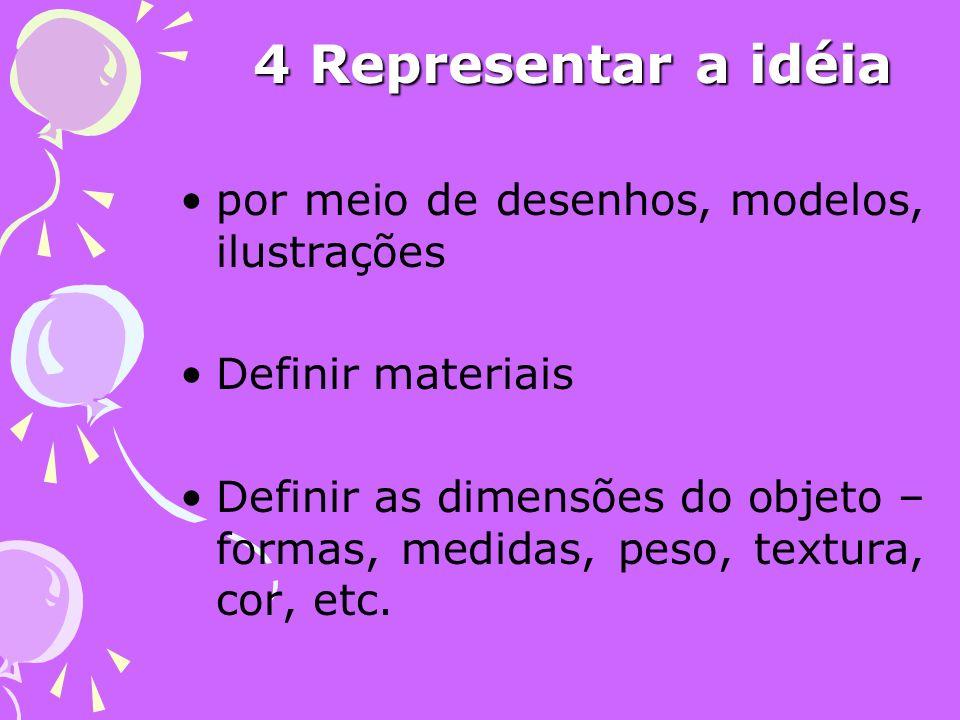 4 Representar a idéia por meio de desenhos, modelos, ilustrações