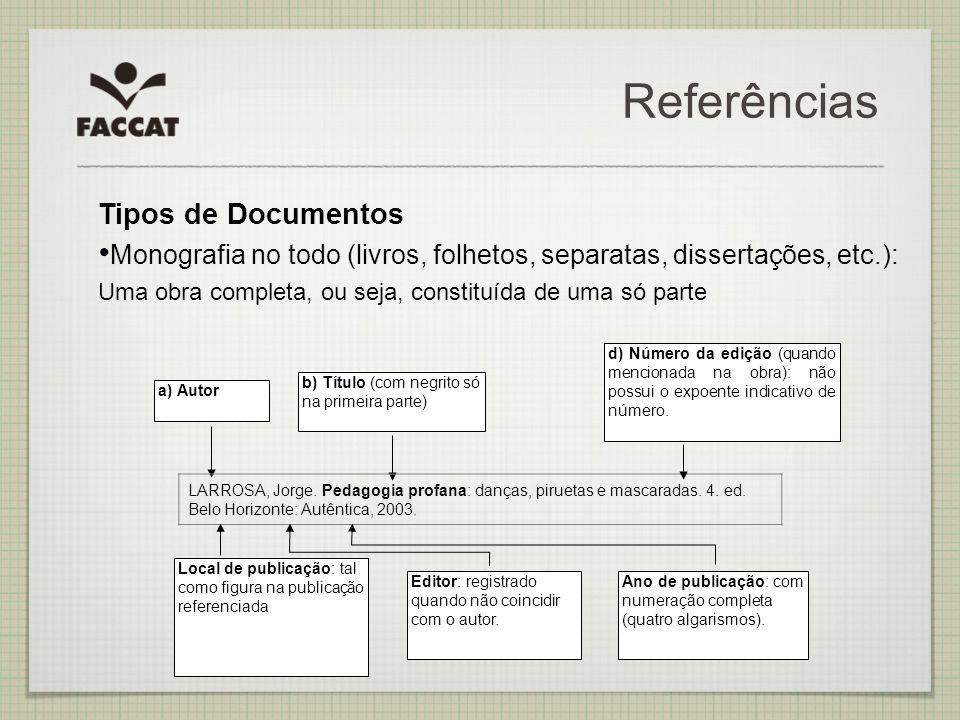 Referências Tipos de Documentos