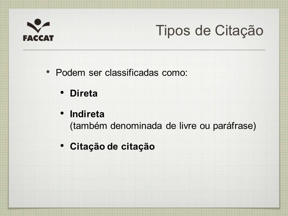 Tipos de Citação Podem ser classificadas como: Direta