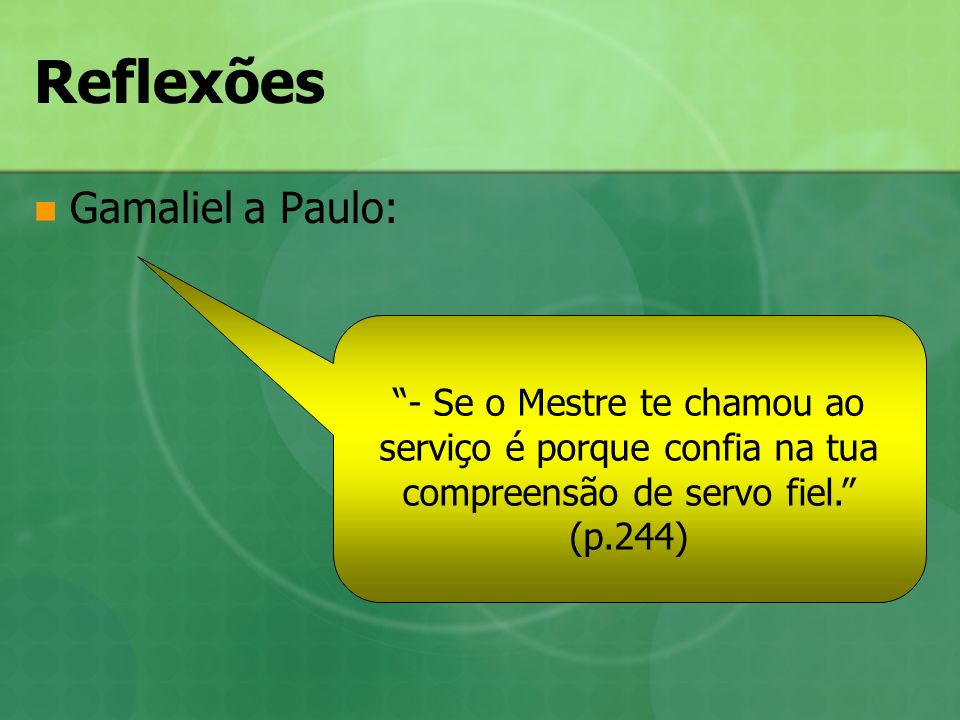 Reflexões Gamaliel a Paulo:
