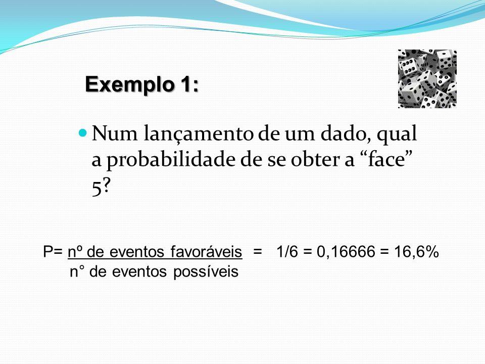 Exemplo 1: Num lançamento de um dado, qual a probabilidade de se obter a face 5 P= nº de eventos favoráveis = 1/6 = 0,16666 = 16,6%