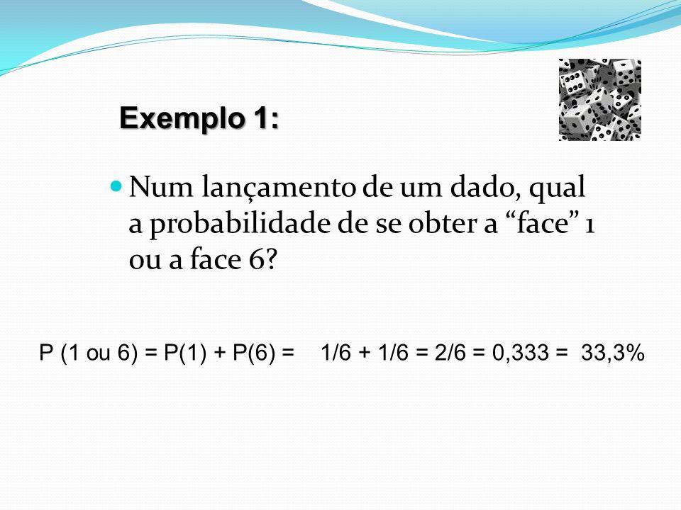 Exemplo 1: Num lançamento de um dado, qual a probabilidade de se obter a face 1 ou a face 6