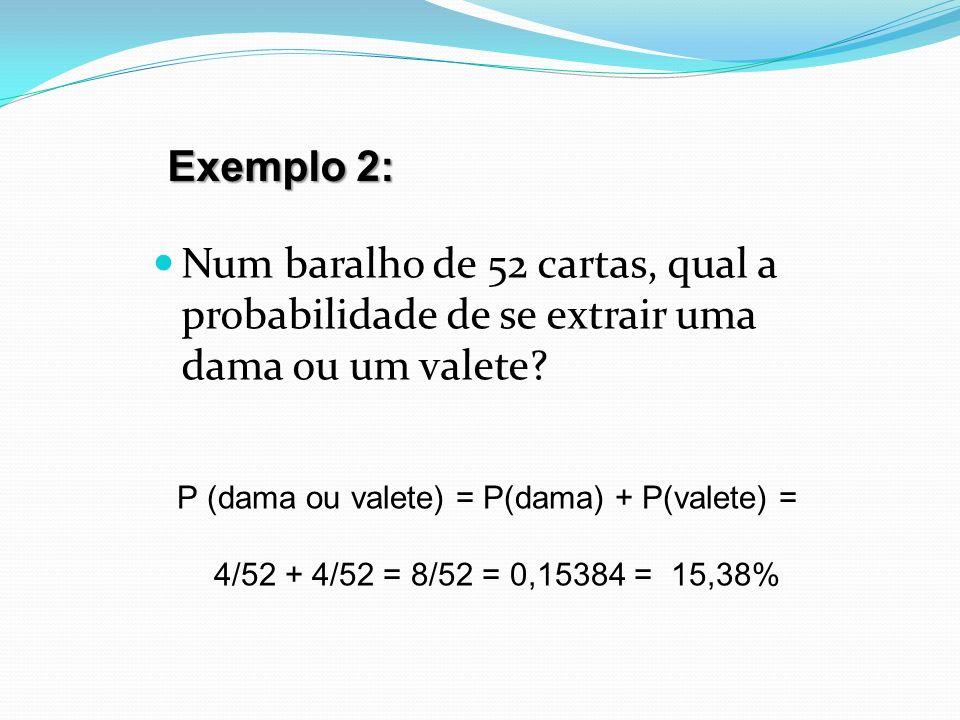 P (dama ou valete) = P(dama) + P(valete) =