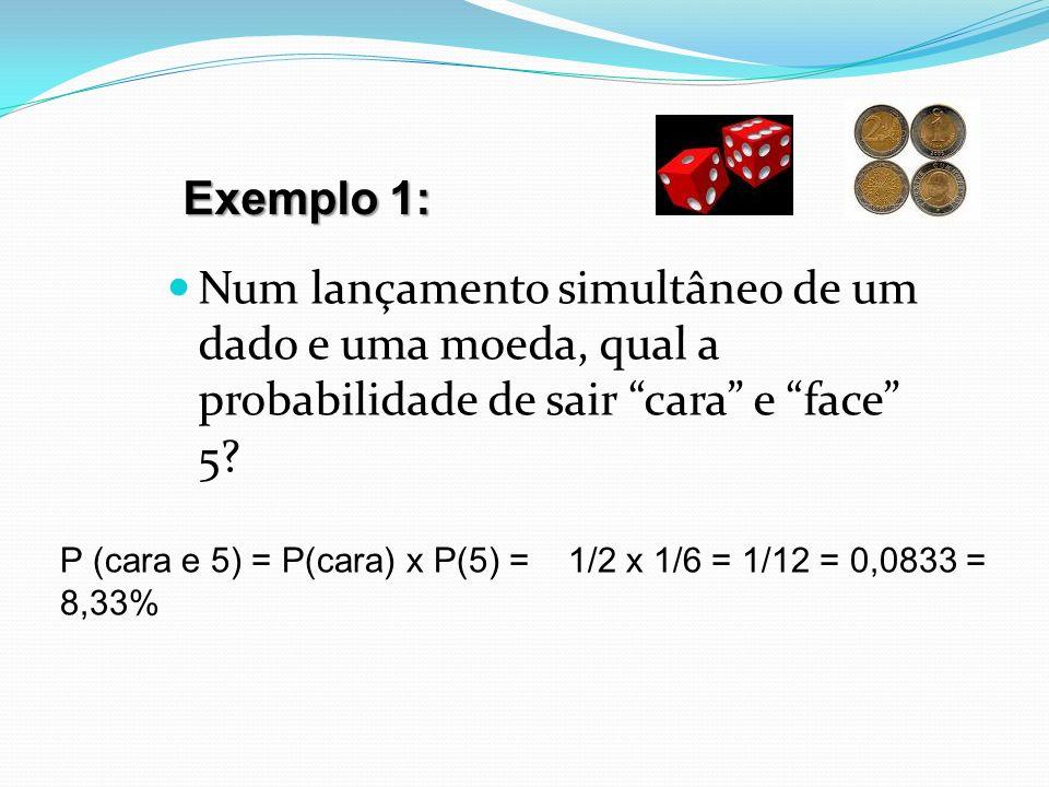 Exemplo 1: Num lançamento simultâneo de um dado e uma moeda, qual a probabilidade de sair cara e face 5