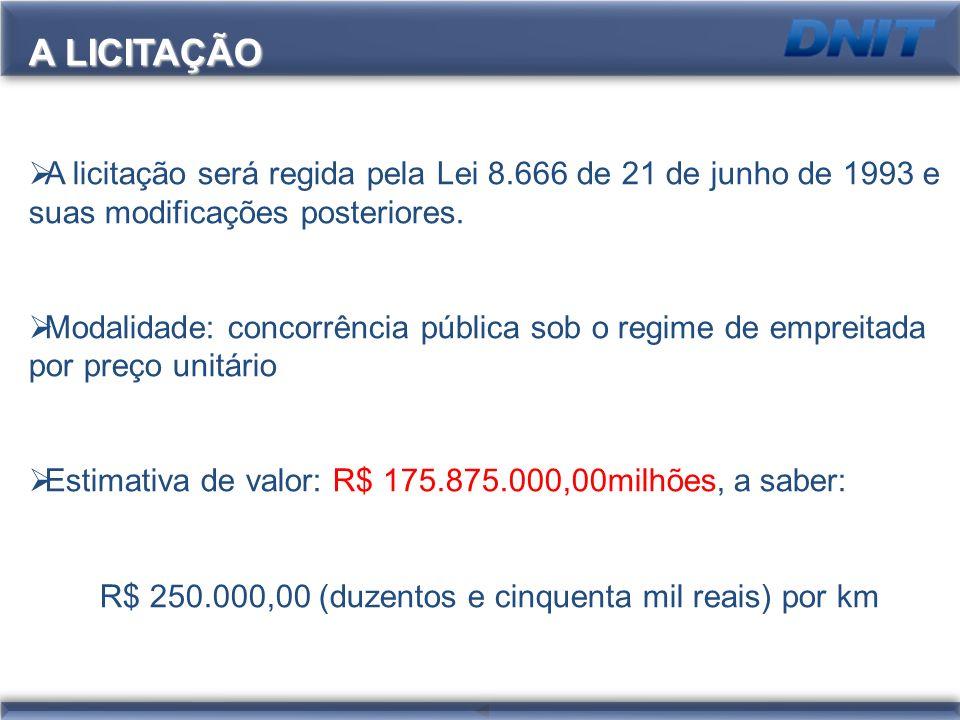R$ 250.000,00 (duzentos e cinquenta mil reais) por km