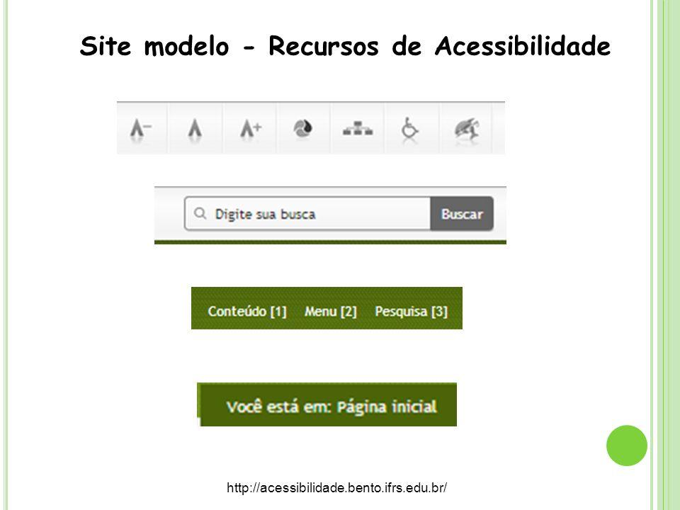 Site modelo - Recursos de Acessibilidade