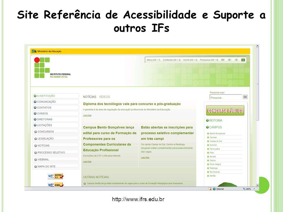 Site Referência de Acessibilidade e Suporte a outros IFs