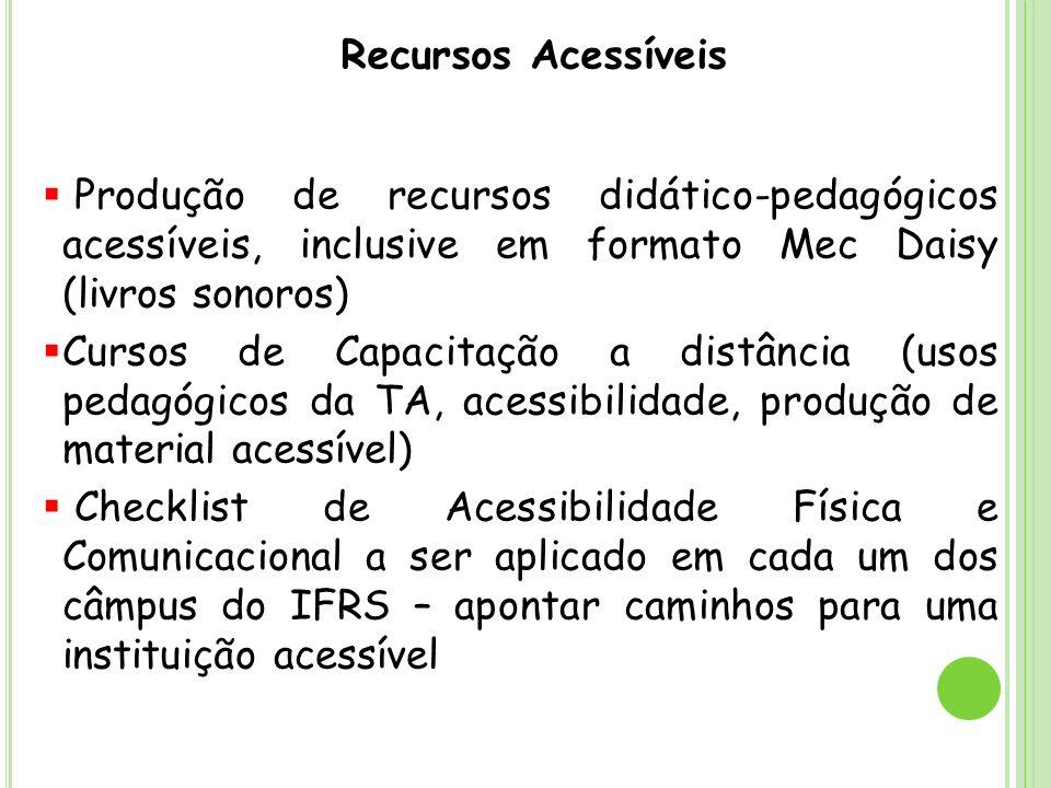 Recursos Acessíveis Produção de recursos didático-pedagógicos acessíveis, inclusive em formato Mec Daisy (livros sonoros)