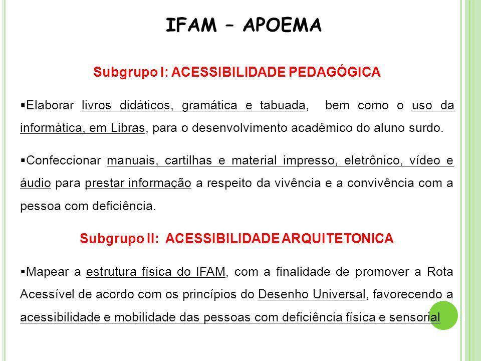 IFAM – APOEMA Subgrupo I: ACESSIBILIDADE PEDAGÓGICA