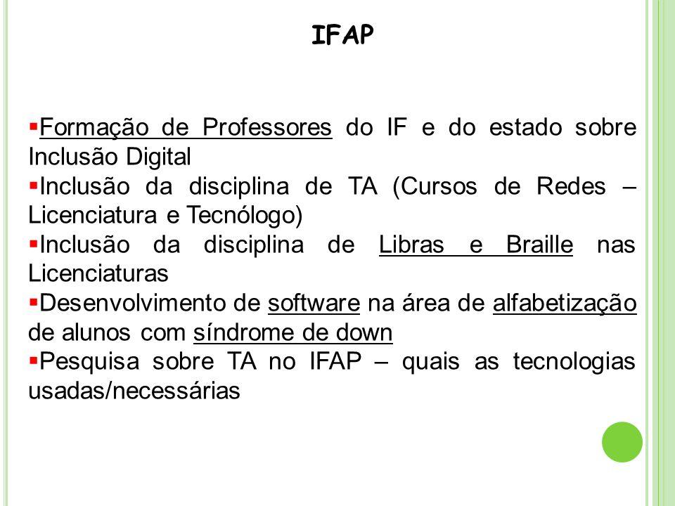 IFAP Formação de Professores do IF e do estado sobre Inclusão Digital