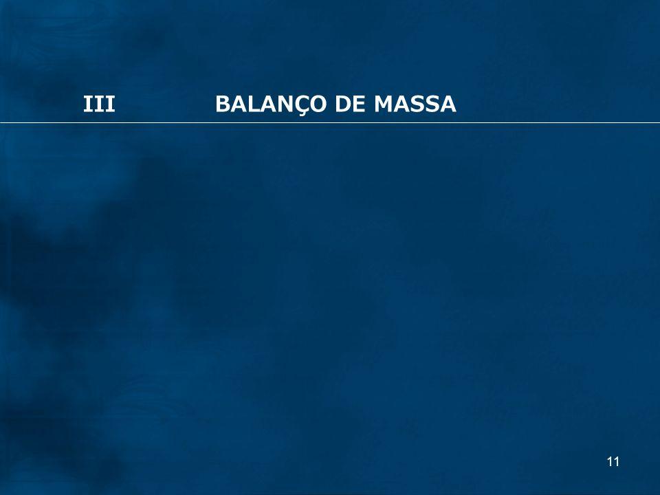 III BALANÇO DE MASSA