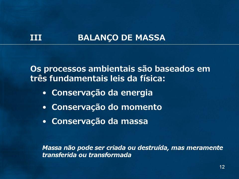 Conservação da energia Conservação do momento Conservação da massa