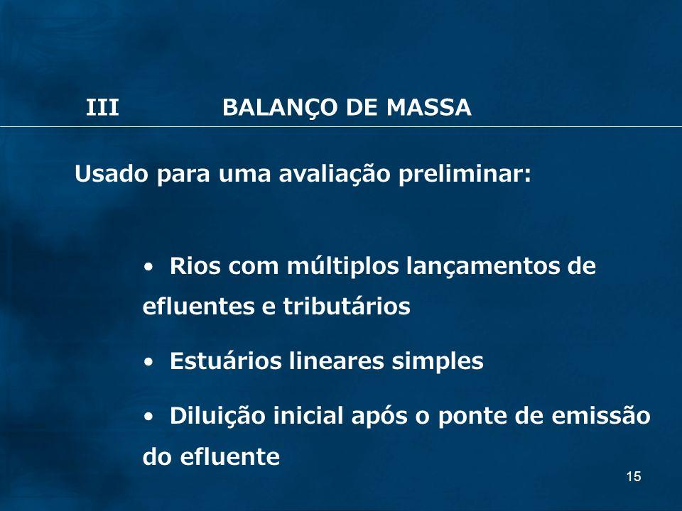 III BALANÇO DE MASSA Usado para uma avaliação preliminar: Rios com múltiplos lançamentos de efluentes e tributários.