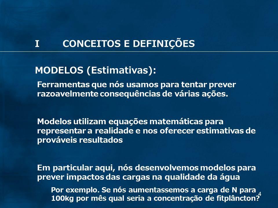 I CONCEITOS E DEFINIÇÕES MODELOS (Estimativas):