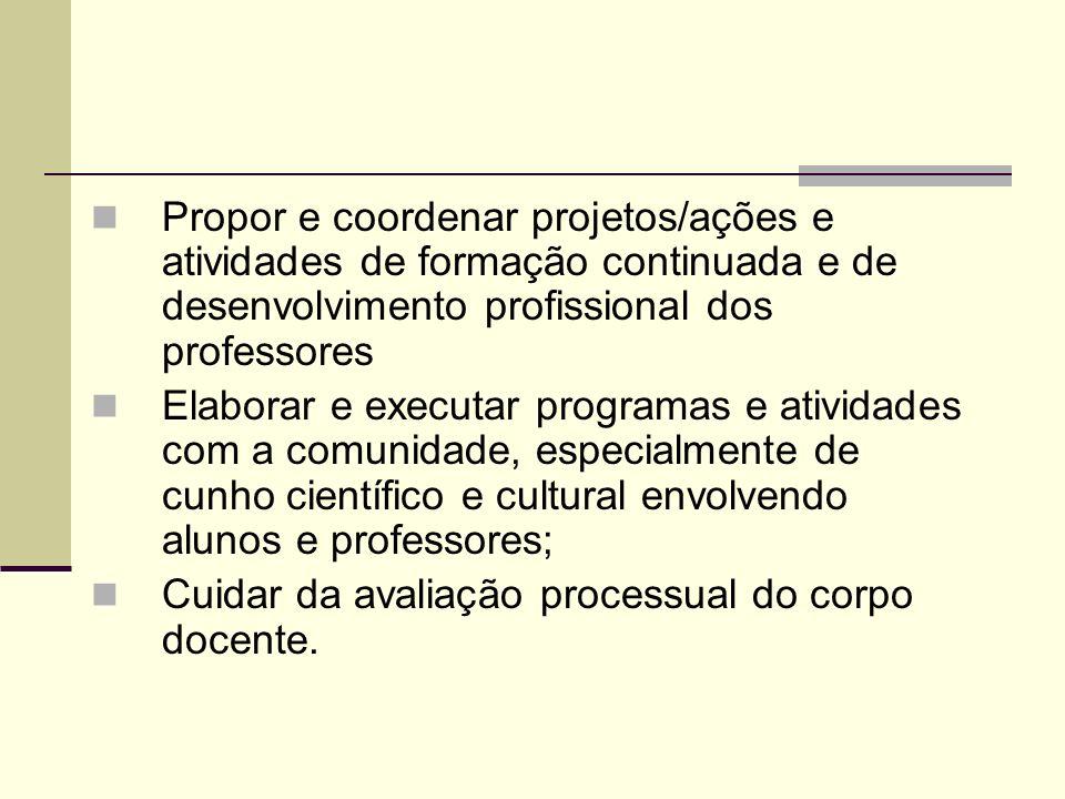 Propor e coordenar projetos/ações e atividades de formação continuada e de desenvolvimento profissional dos professores