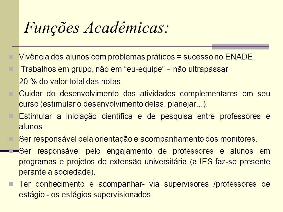 Funções Acadêmicas: Vivência dos alunos com problemas práticos = sucesso no ENADE. Trabalhos em grupo, não em eu-equipe = não ultrapassar.