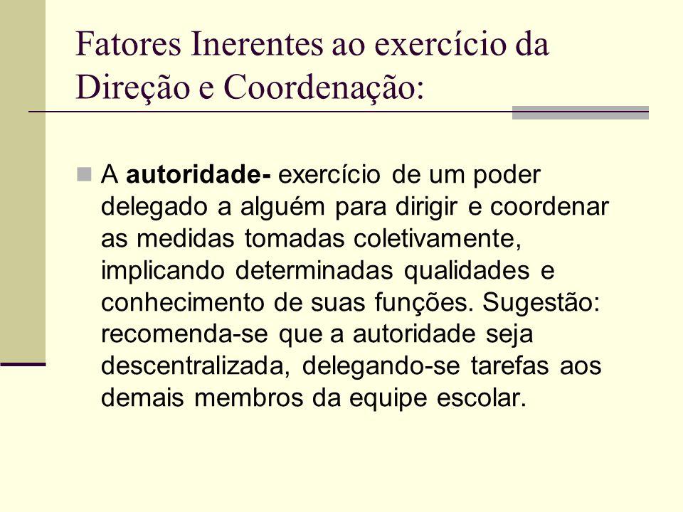 Fatores Inerentes ao exercício da Direção e Coordenação: