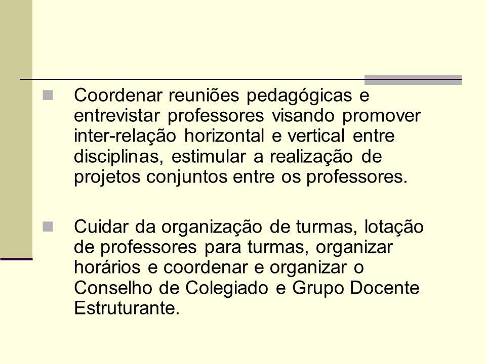 Coordenar reuniões pedagógicas e entrevistar professores visando promover inter-relação horizontal e vertical entre disciplinas, estimular a realização de projetos conjuntos entre os professores.
